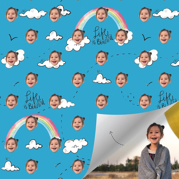 Custom Cloud Wrapping Paper Blue Wrapping Paper for Baby
