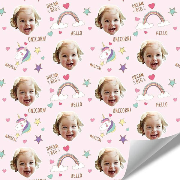 Custom Face Wrapping Paper Rainbow and Unicorn for Girl