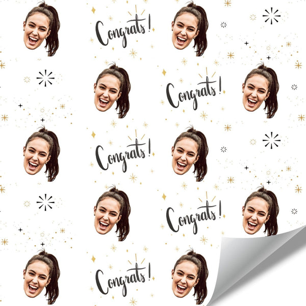 Custom Face Wrapping Paper Congrats