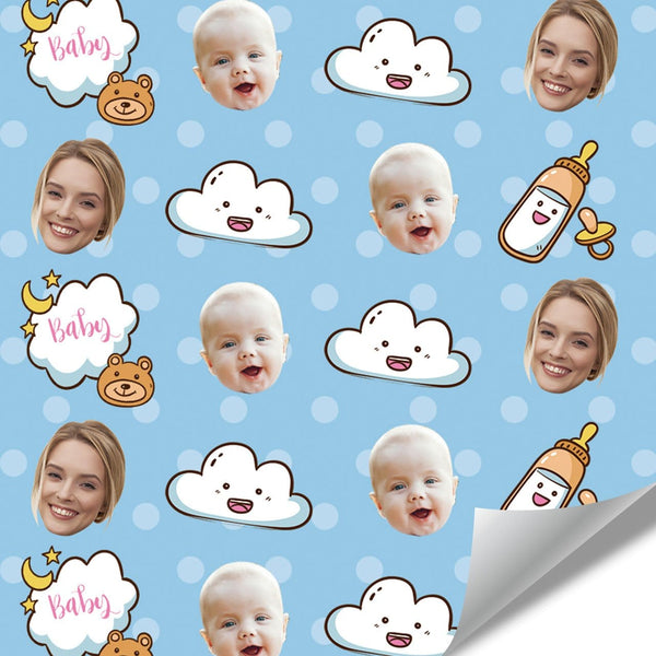 Custom Face Wrapping Paper for Cute Baby