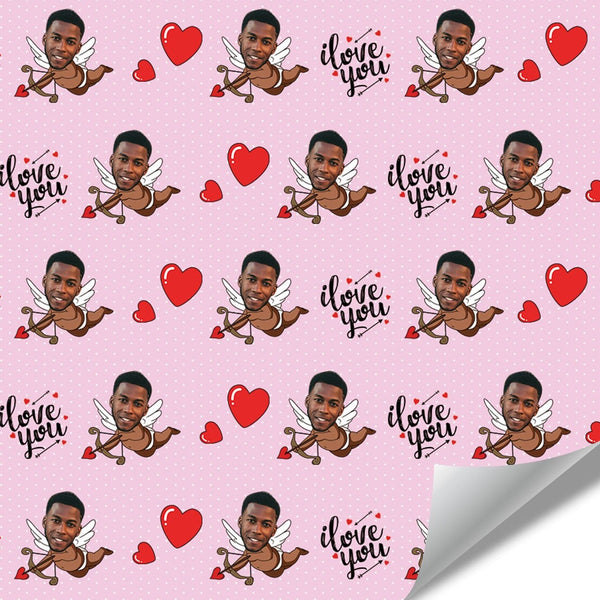 Custom Face Wrapping Paper Cupid for Lover