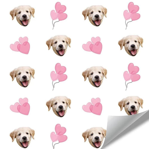 Custom Dog Face Wrapping Paper with Heart for Pet Lover