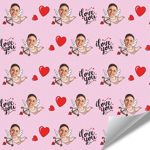 Custom Face Wrapping Paper Pink Cupid for Lover