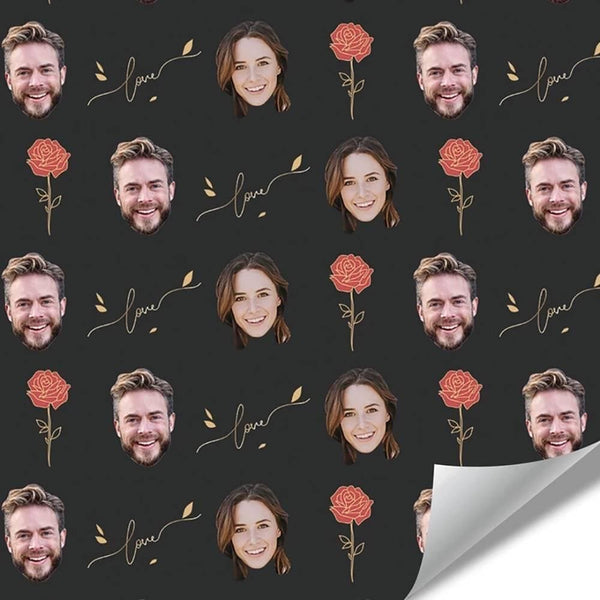 Custom Face Wrapping Paper with Rose for Lover