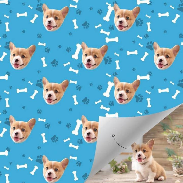 Custom Dog Wrapping Paper with Bone and Paw