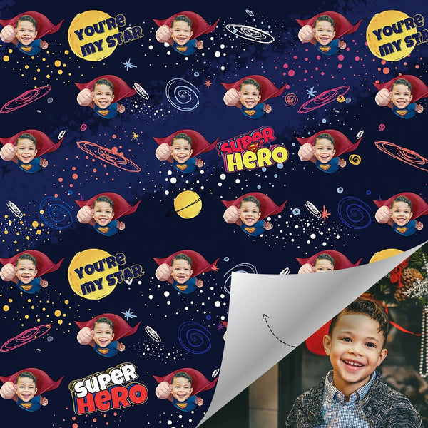 Custom Face Wrapping Paper Superhero Wrapping Paper You Are My Star