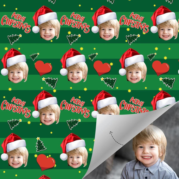 Custom Wrapping Paper For Christmas with Christmas Hat Merry Christmas