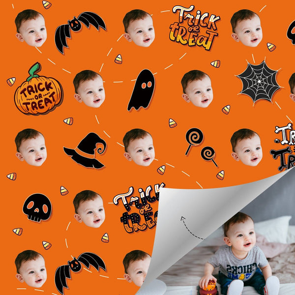 Custom Wrapping Paper For Halloween with Pumpkin