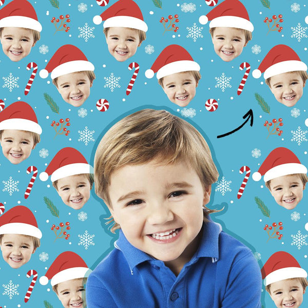 Custom Baby Face Photo Wrapping Paper Personalized Christmas Gift Wrapping Paper Merry Christmas