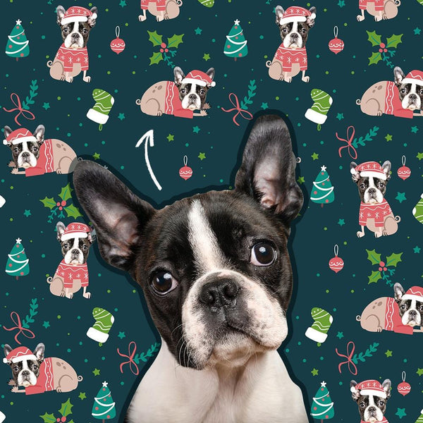 Custom Pet Dog Face Photo Wrapping Paper Personalized Christmas Gift Wrapping Paper Merry Christmas