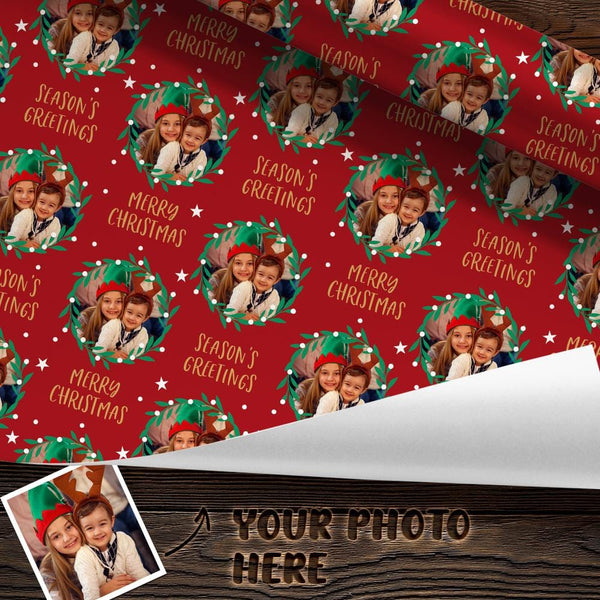 Custom Friend Face Photo Wrapping Paper Personalized Christmas Gift Wrapping Paper Merry Christmas
