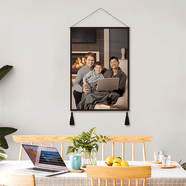 Custom Super Dad Photo Tapestry - Wall Decor Hanging Fabric Painting Hanger Frame Poster