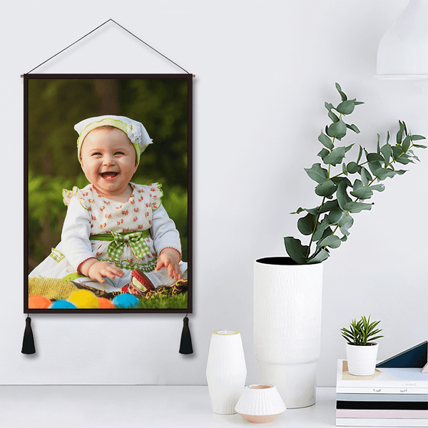 Custom Cute Baby Photo Tapestry - Wall Decor Hanging Fabric Painting Hanger Frame Poster