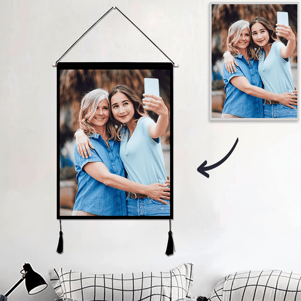 Custom Loved Mother and Daughter Photo Tapestry - Wall Decor Hanging Fabric Painting Hanger Frame Poster