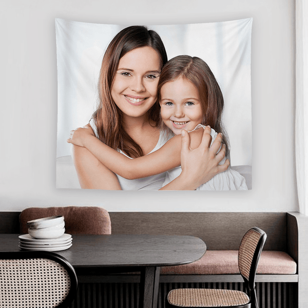 Custom Mother and Daughter Photo Tapestry Short Plush Wall Decor Hanging Painting