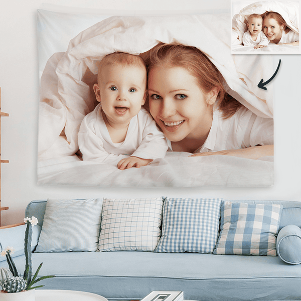 Gift For New Mom Baby Photo Tapestry Custom Wall Decor