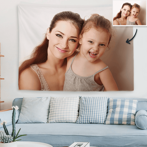 Custom Mom and Daughter Photo Tapestry Short Plush Wall Decor Hanging Painting