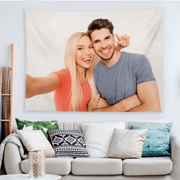 Custom Loved Couple Photo Tapestry Short Plush Wall Decor Hanging Painting