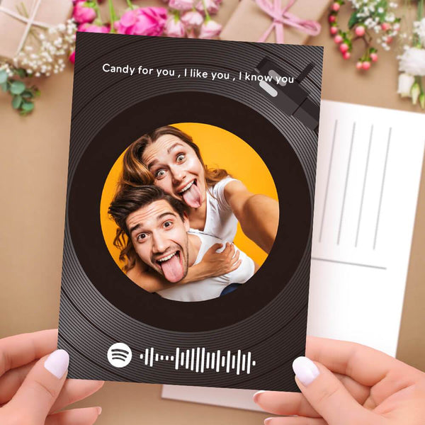 Photo Postcards Scannable Spotify Code Music Cards Vinyl Record Black
