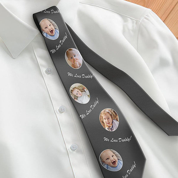 Custom Photo Necktie Father's Gifts Son And Daughter Grey Tie