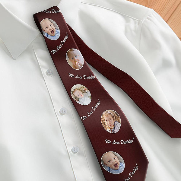 Custom Photo Necktie Father's Gifts Son And Daughter Wine Red Tie