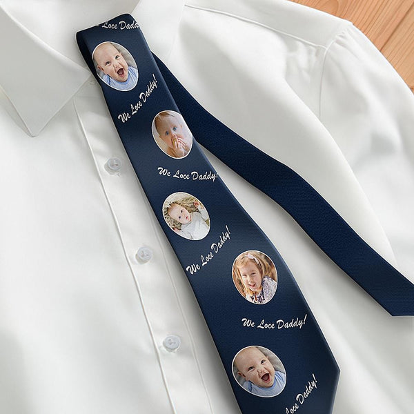 Custom Photo Necktie Father's Gifts Son And Daughter Dark Blue Tie