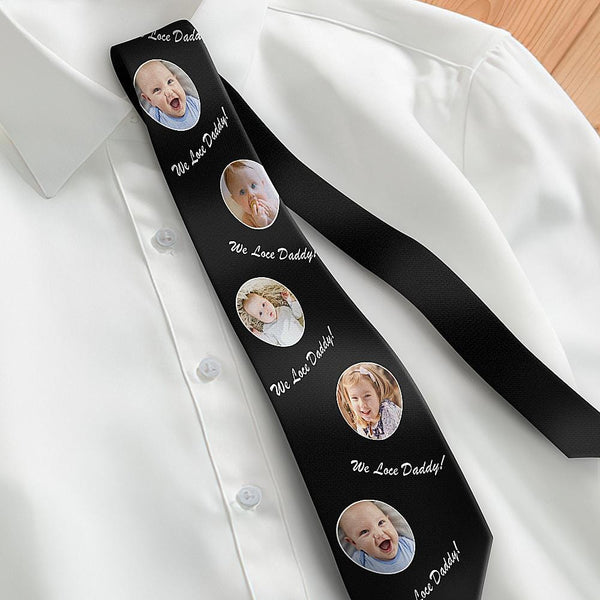 Custom Photo Necktie Father's Gifts Son And Daughter Black Tie