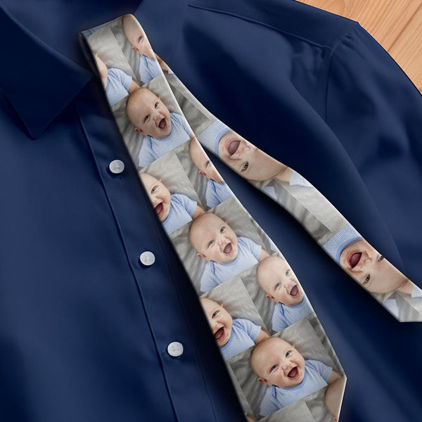Custom Photo Necktie Father's Gifts Dad's Baby Grey Photo Tie