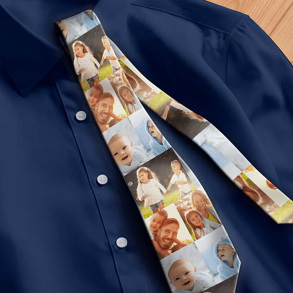 Custom Photo Necktie Father's Gifts Family's Activities Warm Photo Tie
