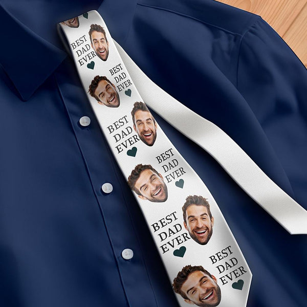 Custom Photo Necktie Father's Gifts Best Dad Ever White Photo Tie
