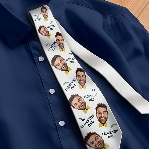 Custom Photo Necktie Father's Gifts Love Dad White Photo Tie