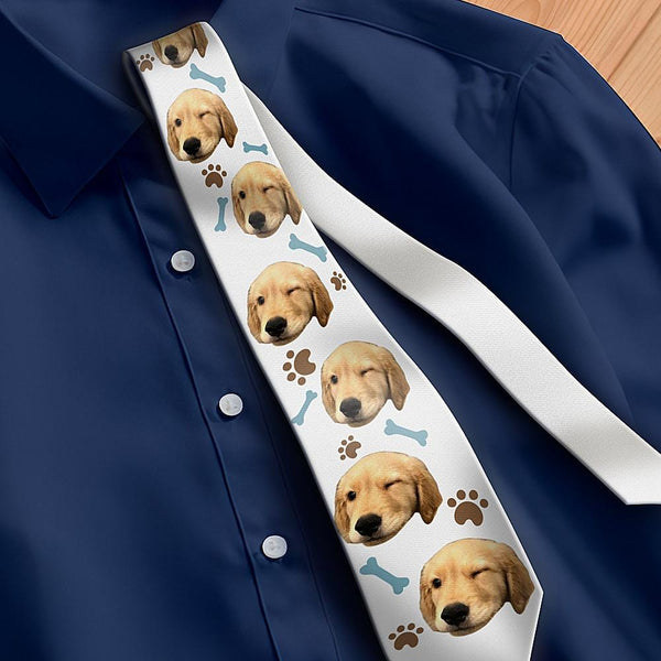 Custom Photo Necktie Father's Gifts Lovely Pet White Photo Tie