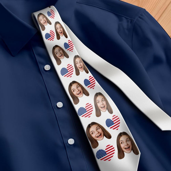 Custom Photo Necktie Independence Day American Beauty Photo Tie