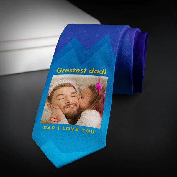 Custom Photo Necktie Love Dad Blue Photo Tie