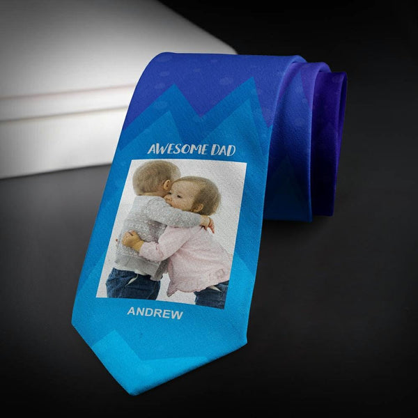 Custom Photo Necktie For Super Dad Purple Photo Tie