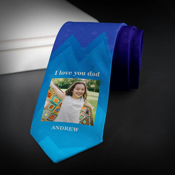 Custom Photo Necktie Love Husband Purple Photo Tie