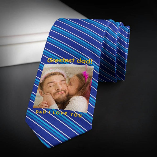 Custom Photo Necktie Love Dad Blue Stripes Photo Tie