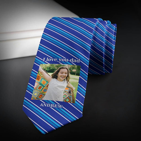 Custom Photo Necktie Love Husband Blue Stripes Photo Tie
