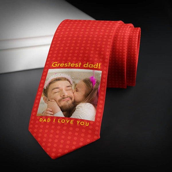 Custom Photo NecktieFor Dad Red Photo Tie