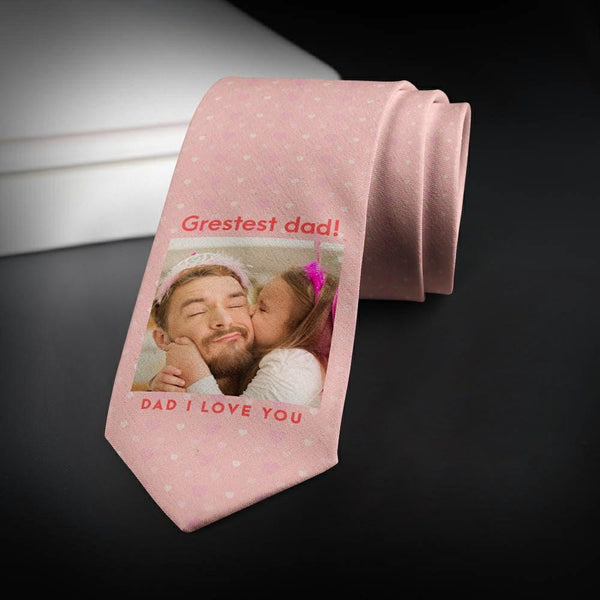 Custom Photo Necktie Dear Father Pink Photo Tie