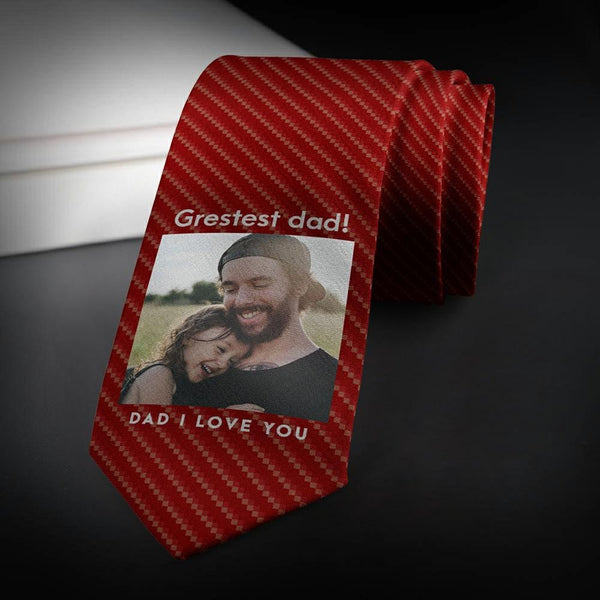 Personalized Photo Necktie The Greatest Dad Father's Gifts Red Wine Tie
