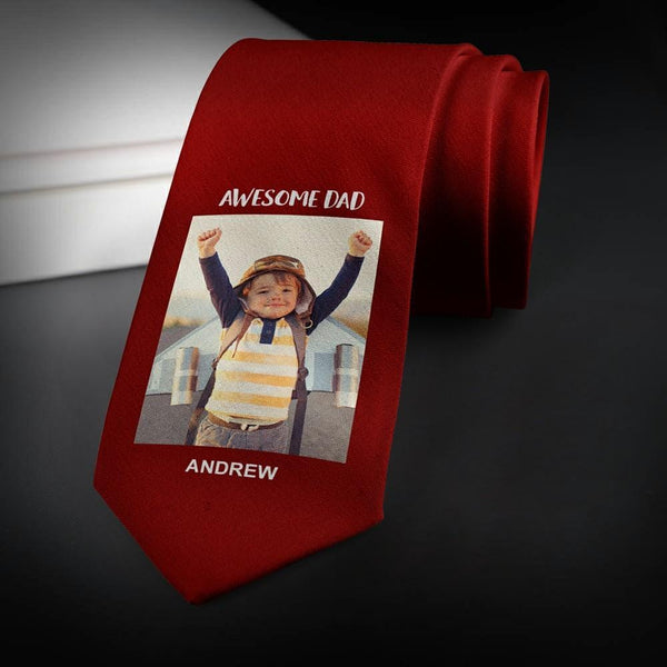 Custom Photo Necktie Father's Gifts Red Photo Tie