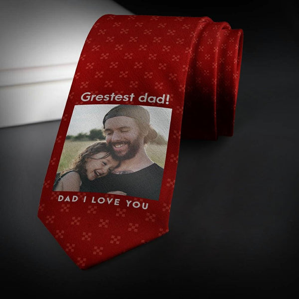 Personalized Photo Necktie My Wonderful Dad Father's Gifts Red Wine Tie