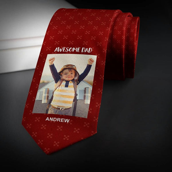 Custom Photo Necktie Father's Gifts Wine Red Tie with Little Pattern
