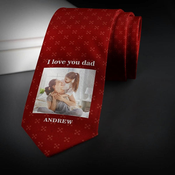 Custom Photo Necktie Love Dad Wine Red Tie with Little Pattern Tie