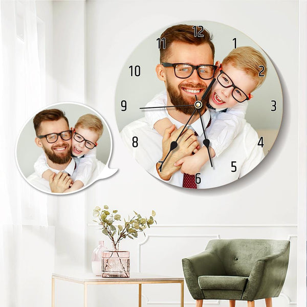 Custom Photo Clock Round Clock Gifts for Father 25*25cm