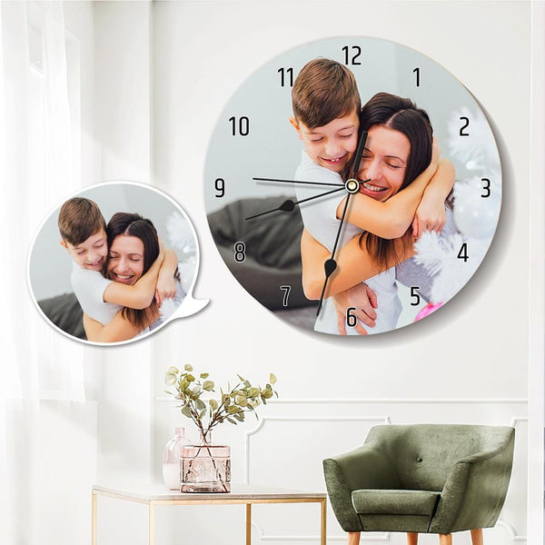 Custom Photo Round Clock 25*25cm Gifts for Mom
