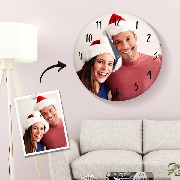Custom Photo Clock for Lover 25*25cm Christmas Gifts