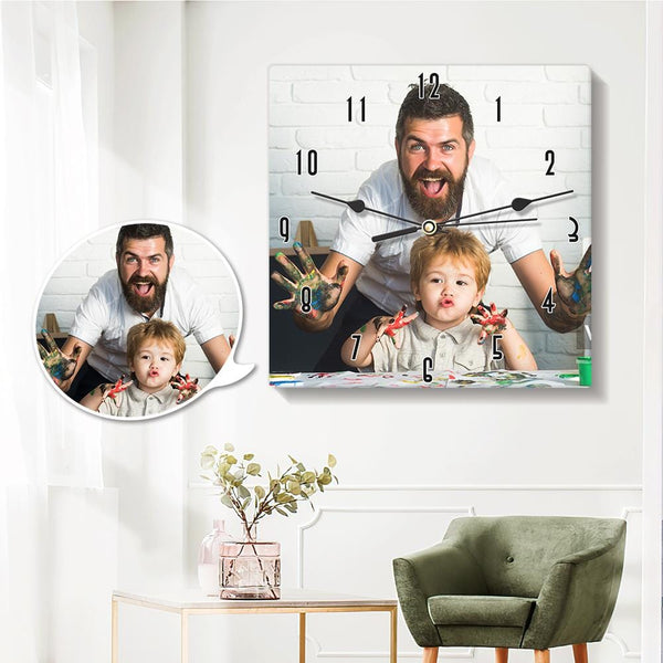 Custom Photo Clock Wall Clock Square 20*20cm for Dad