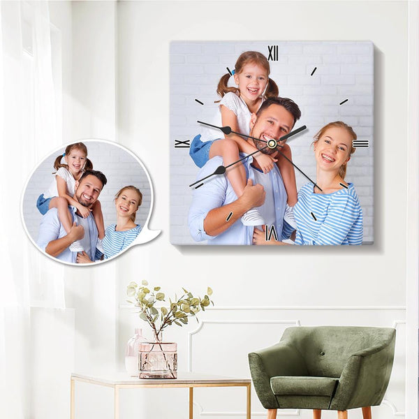 Personalized Photo Wall Clock Square 20*20cm for Family